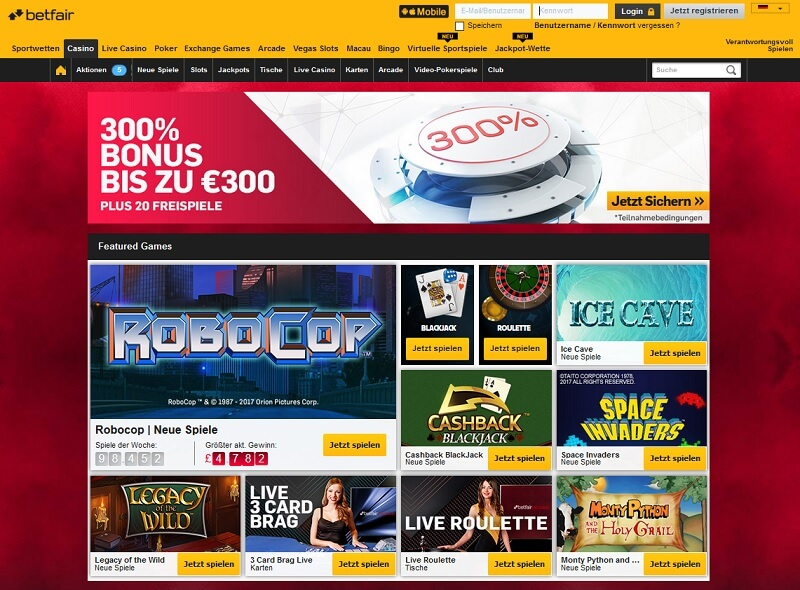 Lobby betfair Casino