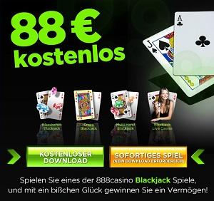 Mit €88 Gratis Blackjack spielen